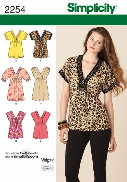 Simplicity Trendy V-Neck Tunic Sewing Pattern Easy Tops Retro Boho Pullover  2254 09740318e