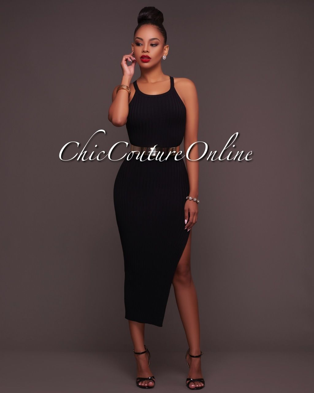1a4e8d3b65f Chic Couture Online - Treasure Black Ribbed Side Slit Midi Dress, (http:/