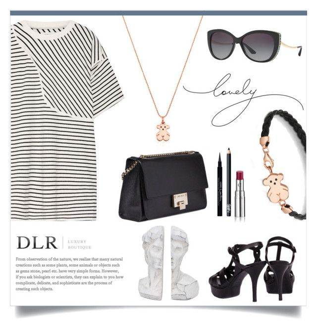 """""""Stripes"""" by mahafromkailash ❤ liked on Polyvore featuring TOUS, MM6 Maison Margiela, Bulgari, Yves Saint Laurent, Jimmy Choo, Givenchy, NARS Cosmetics, Chantecaille and dlrboutique"""