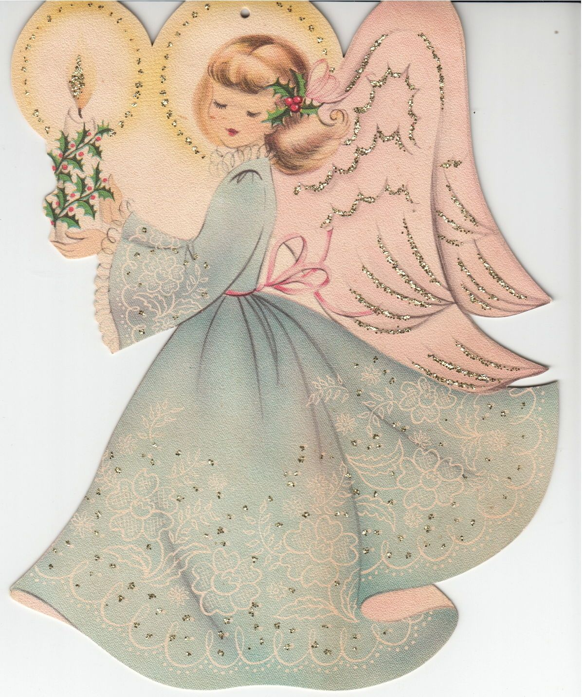 "Vintage ANGEL Greeting Card NORCROSS Unused Lace Glitter 9.5"" tall 1940s FOR SALE • $24.99 • See Photos! Money Back Guarantee. Vintage ANGEL Greeting Card from the NORCROSS Collection Unused Lace print Glitter 9.5"" tall 1940s Age-toning to the paper, No envelope. Item(s) come from a smoke-free house. Winner to pay 222525635081"