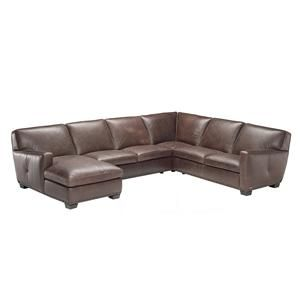 B528 Leather Corner Sectional Sofa With Chaise By Natuzzi Editions