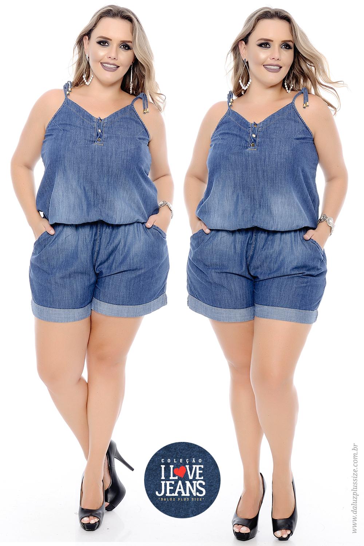 4f4a81104 Macaquinho Plus Size Ludymila - Coleção I Love Jeans Plus Size -  daluzplussize.com.br