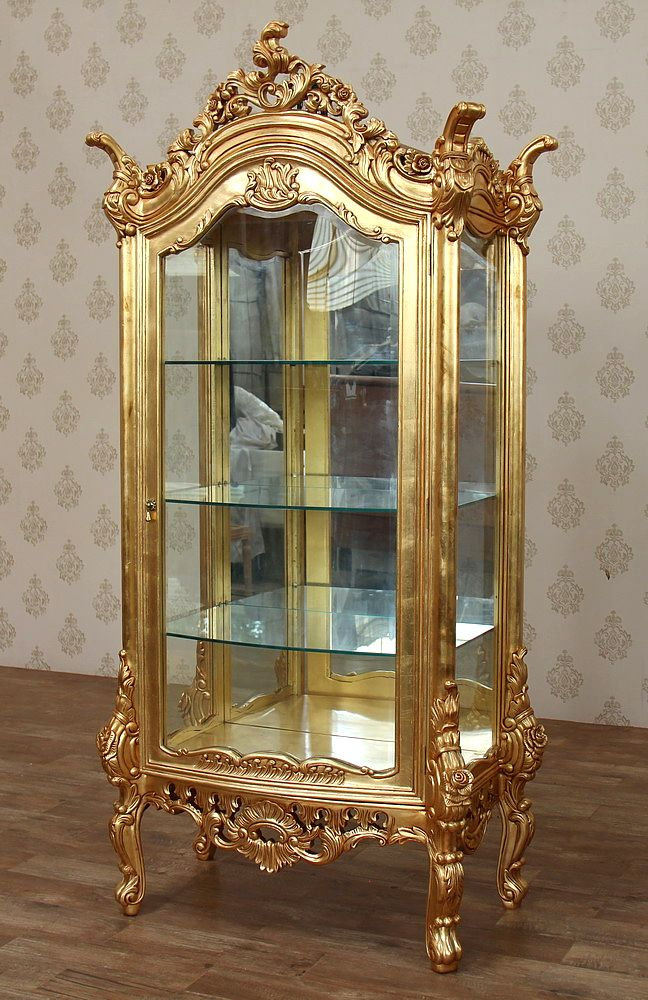 Antiqued Gold Italian Style Curio Display Showcase Vitrine Cabinet