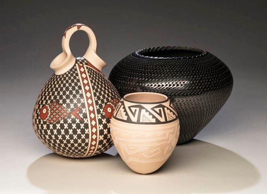 Mata Ortiz Pottery Wedding Vase And Two Ollas Mata