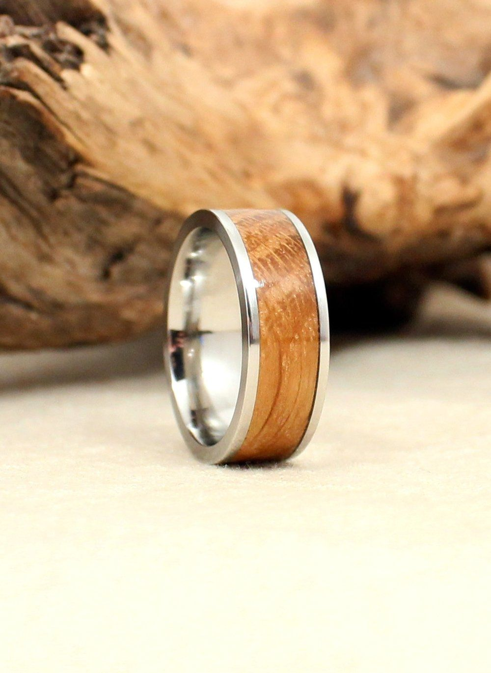 Whiskey Barrel White Oak Lined with Cobalt Ring