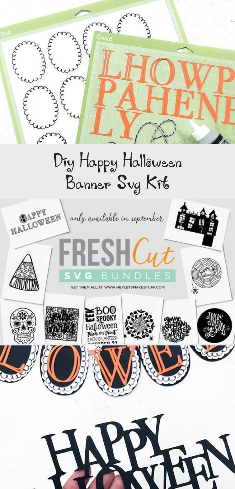DIY Happy Halloween Banner SVG Kit - 100 Directions #bannerPlantillas #bannerLetters #bannerDigitales #bannerBulletJournal #Burlapbanner #happyhalloweenschriftzug