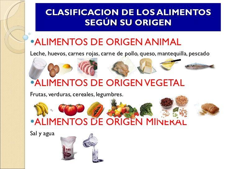 Resultado de imagen de los alimentos según su origen