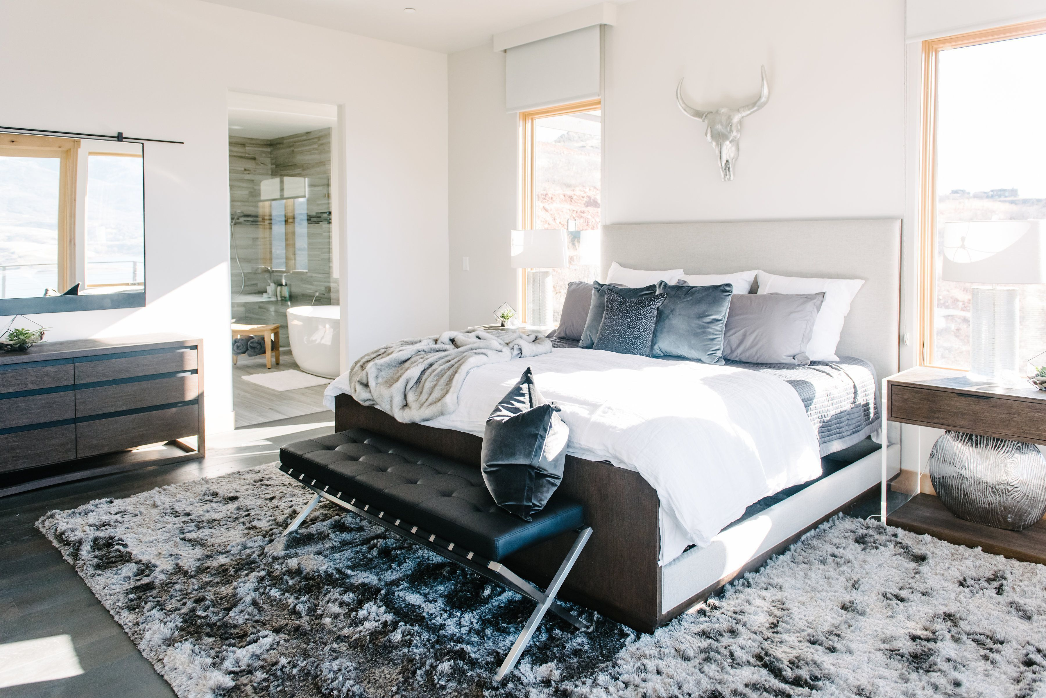 Master Bedroom Master Bedroom Ideas Interior Design Neutral Bedroom Bedding Rug Ideas Rug Placeme Bedroom Rug Placement Bedroom Design Modern Bedroom Rug