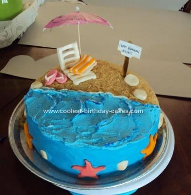 Homemade Beach Theme Birthday Cake With Images Beach Birthday Cake