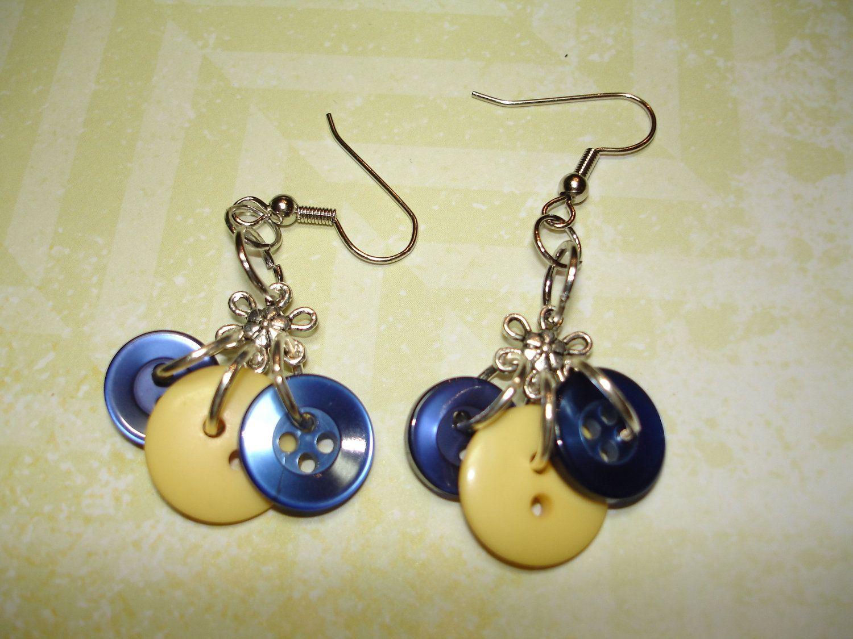 Button Earrings  Dangle button Earrings  NAVY by LilyBankButtonry, $8.00