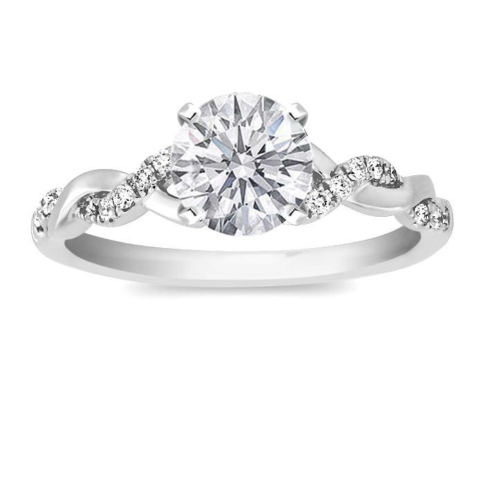 Round Diamond Pee Twisted Pave Band Engagement Ring In 14k White Gold