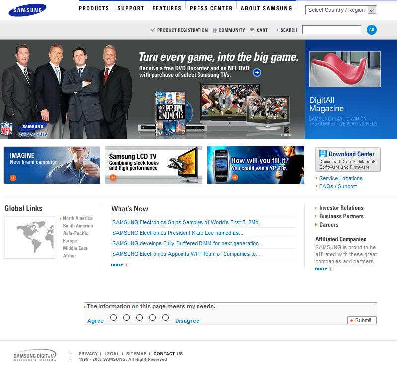 Samsung Website In 2004 Web Design Samsung Products Samsung