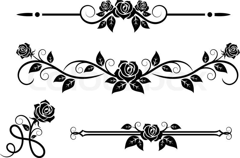 Flower Bottom Border Black And White Google Search Rose Stencil Vector Flowers Rose Flower