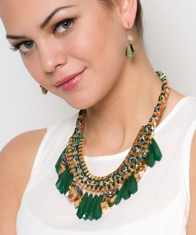 f34ff58379ca Collar y aretes Hojas Verdes Con Dorado Modelo C004 – 1