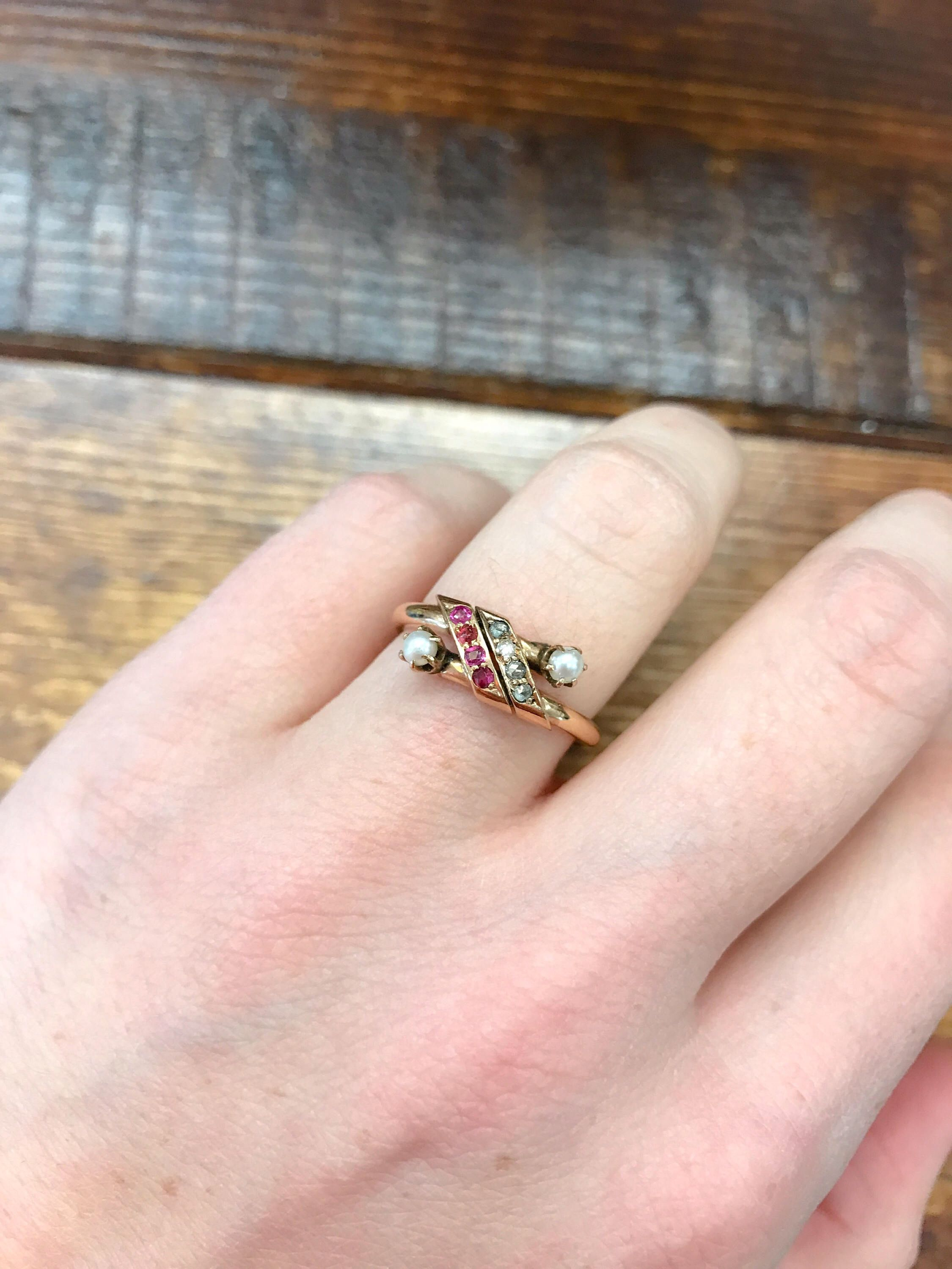 Double pearl, ruby, diamond 1940s rose gold bypass ring vintage ring ...