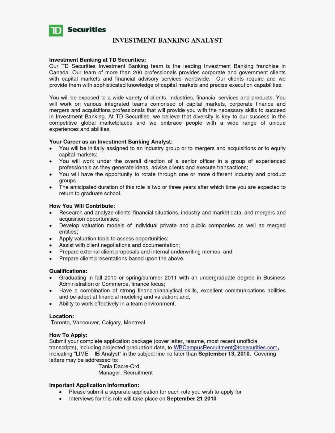 Printable 27 Cover Letter Investment Banking Resume Cover