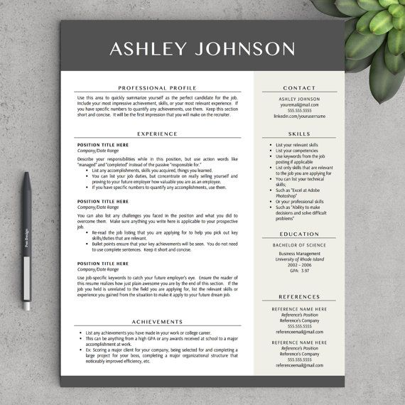 Modern Resume Template for Word and Pages, 1 - 3 Pages + Cover - most impressive resume