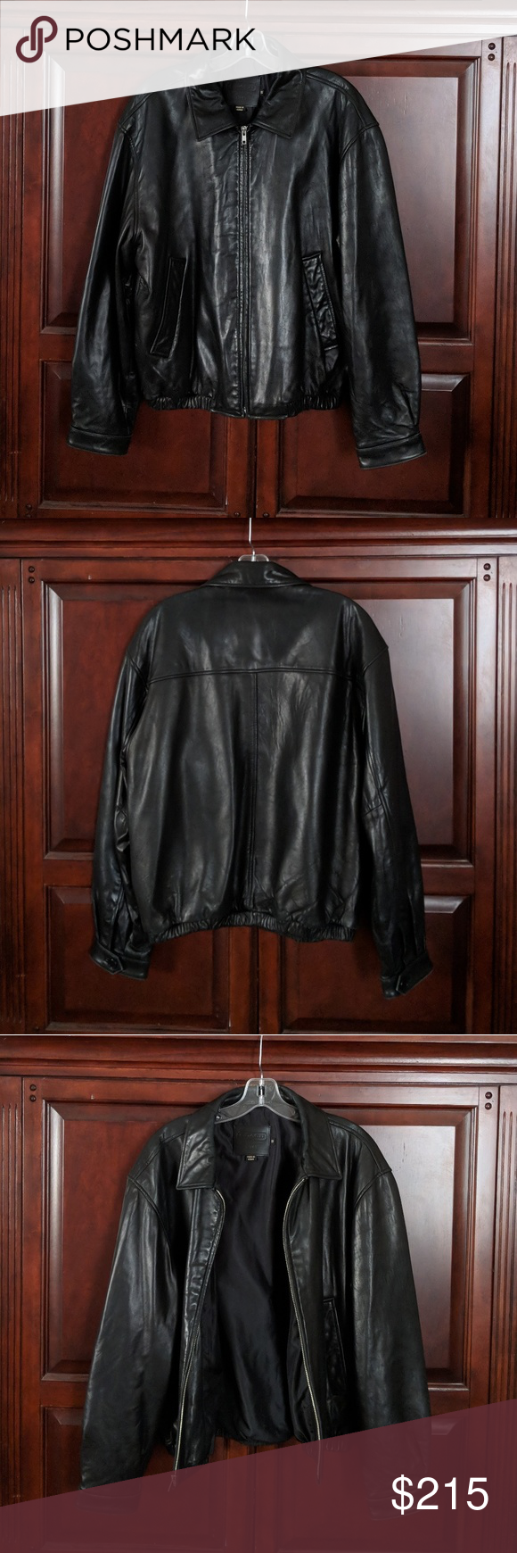 Coach black leather jacket size small Black leather