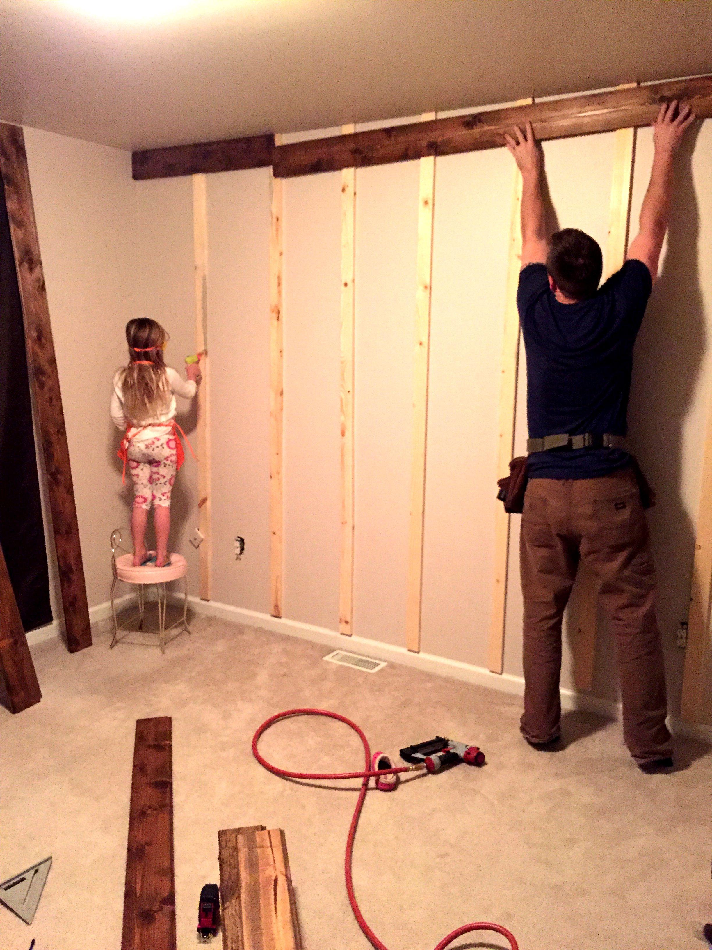 Wooden Accent Wall Tutorial | Pallets | Pinterest | Walls, Basements ...