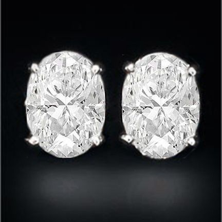 Oval Diamond Stud Earrings D Flawless 2 03 Tcw Signature Ideal Cut