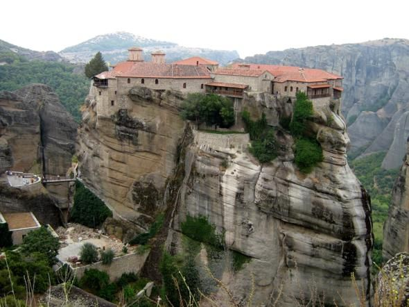 Meteora, Greece    The area of Meteora on the Greek mainland is a collection of six monasteries that were constructed on limestone rocks many centuries ago.