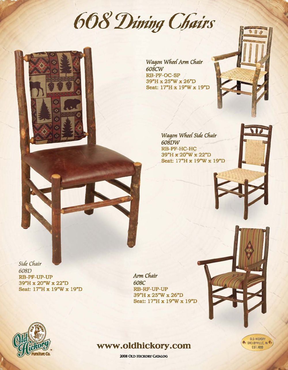 Old Hickory Furniture Co 608 Dining Chairs Available at
