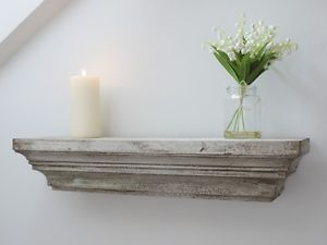 Shabby Chic Vintage Style Distressed White Wall Mounted Wooden Floating Shelf