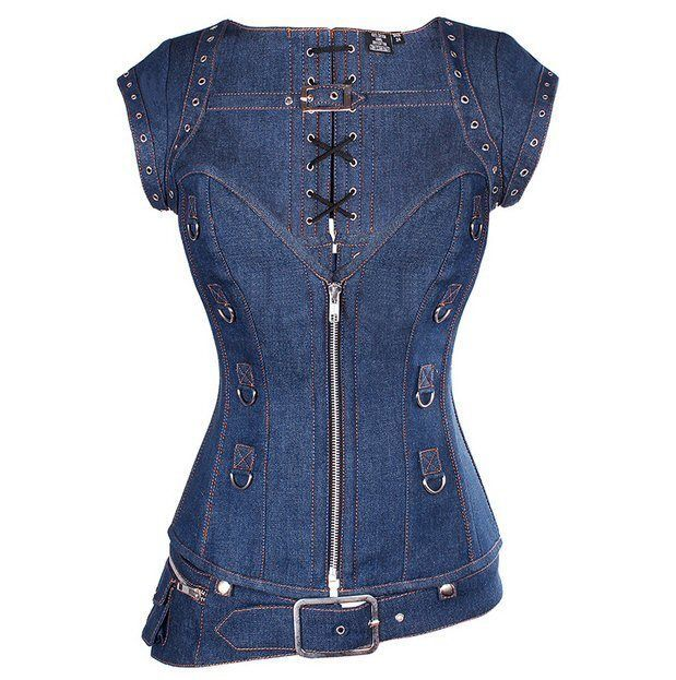"""This is a steel-boned corset with a jacket. This is a size XS/S 20 by UK sizing (which by charts is meant for 24-25"""" waist but I have found to fit slightly larger and small sizes). Authentic Steel Boned Blue Denim Overbust Corset with Jacket.   eBay!"""
