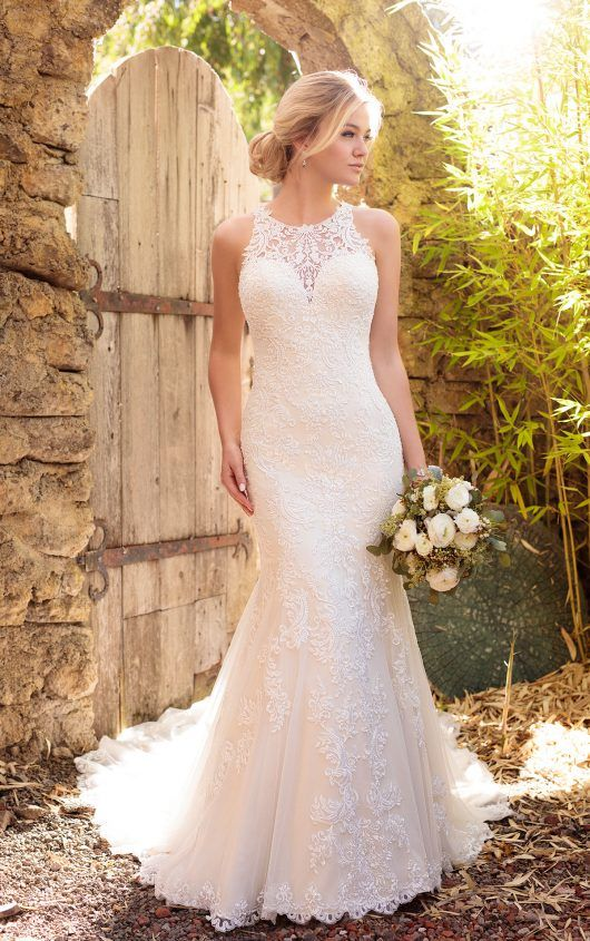 ddf56f91380 Satin wedding dress with halter neckline