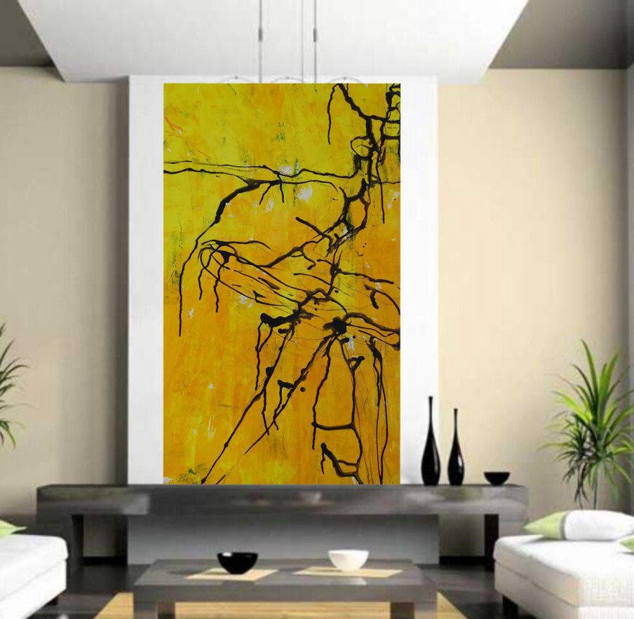 Yellow abstract giclee print living room wall art prints on paper
