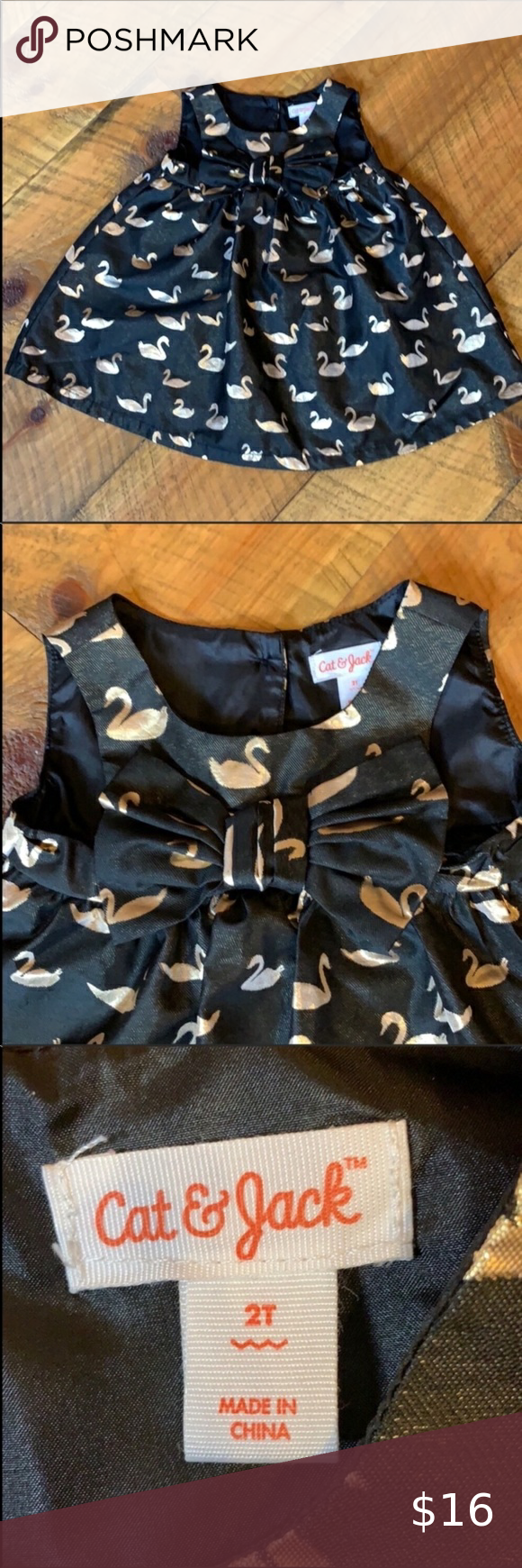 Cat Jack Black Dress With Gold Swan Print 2t Cat Jack Dress 2t Black With Shiny Gold Swan Print Oversize Bow On The Front Swan Dress Jack Black [ 1740 x 580 Pixel ]