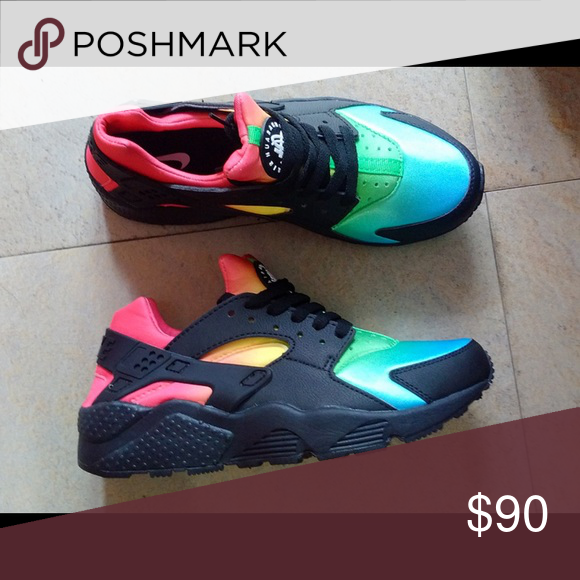 Custom Rainbow Huaraches Custom rainbow huaraches that are a 7 in women but  fit like a 5 1 2 - 6 Nike Shoes Sneakers 28f67d053bb6