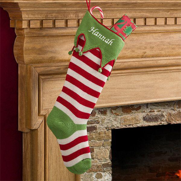 9785 - Seasonal Stripes Embroidered Knit Stockings Christmas - christmas clearance decor