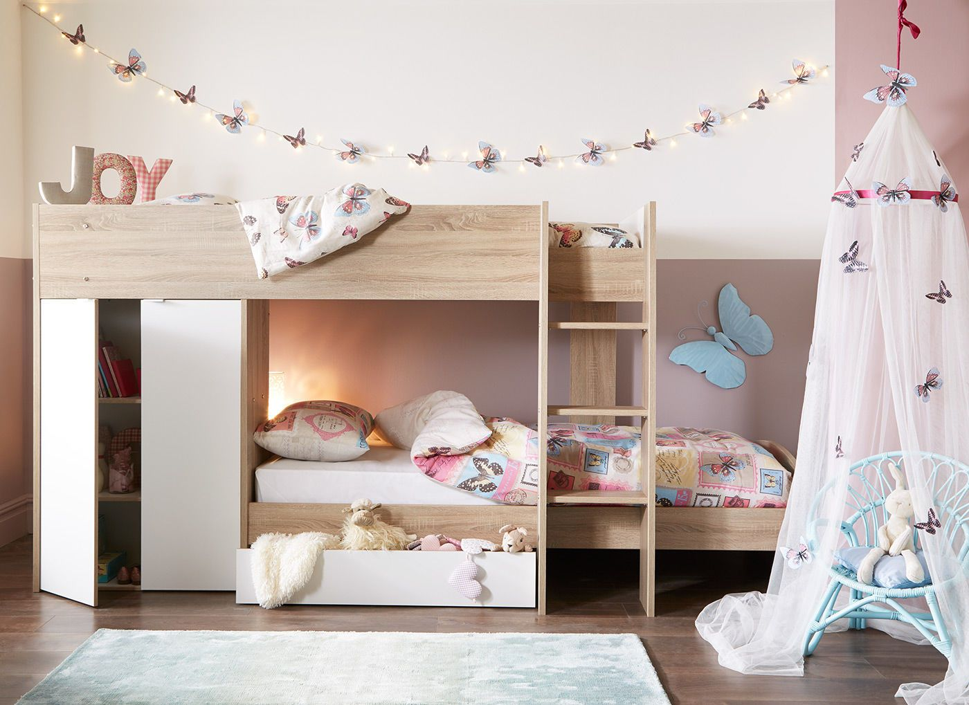 Double loft bed with stairs  Finley Bunk Bed  Oak and White  Bunk bed Kids rooms and Storage