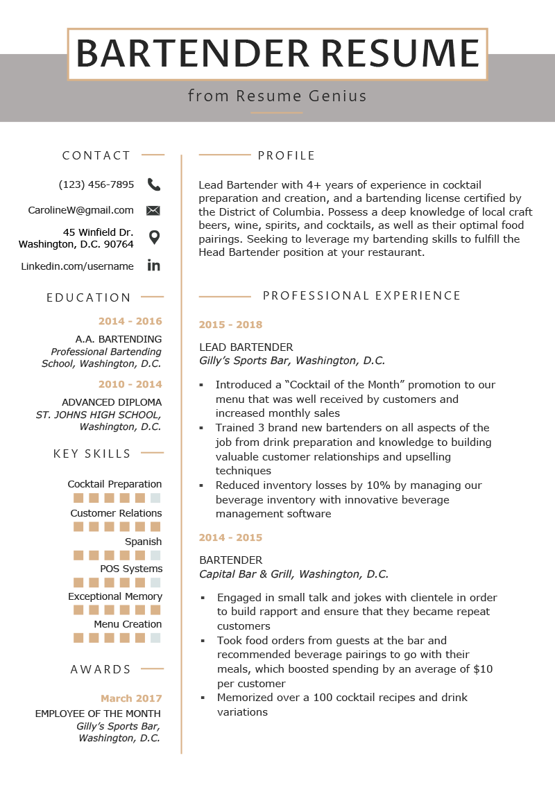 Bartender Resume Example & Writing Guide (With images