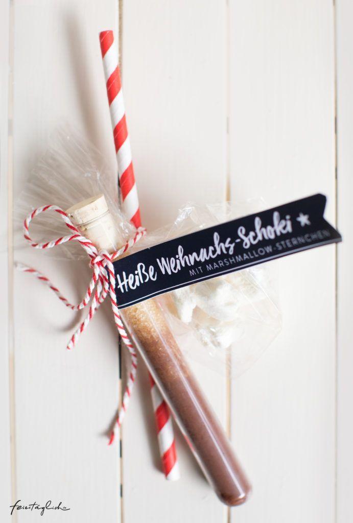Geschenke aus der Küche: Heiße Weihnachts-Schokolade mit Marshmallow-Sternchen & Free-printable-Labels zum Ausdrucken – feiertäglich…das schöne Leben