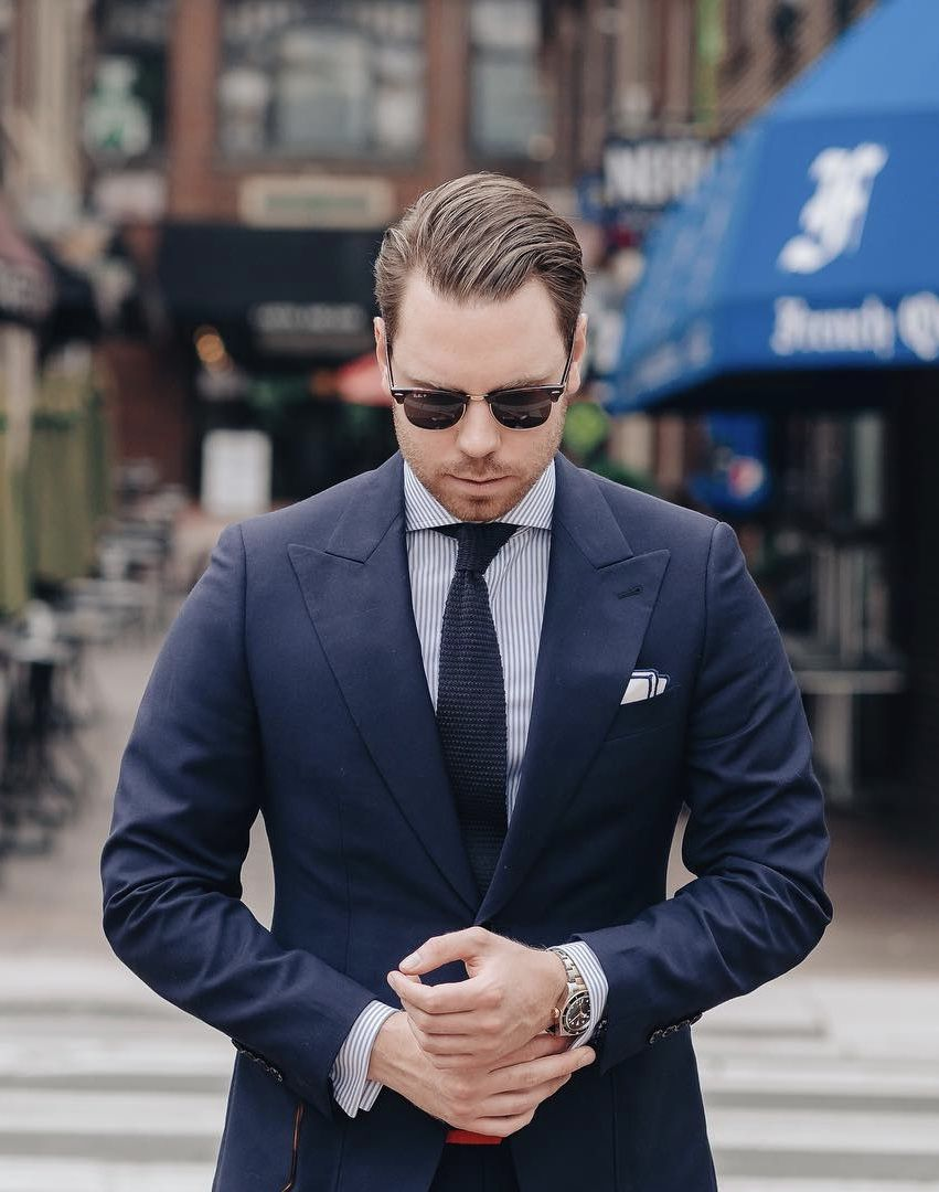 e82efaaf67 @noahwilliamsstyle - with a navy wide lapel @indochino suit with a navy  striped shirt navy knit tie navy lined silk pocket square watch cufflinks  ray ban ...