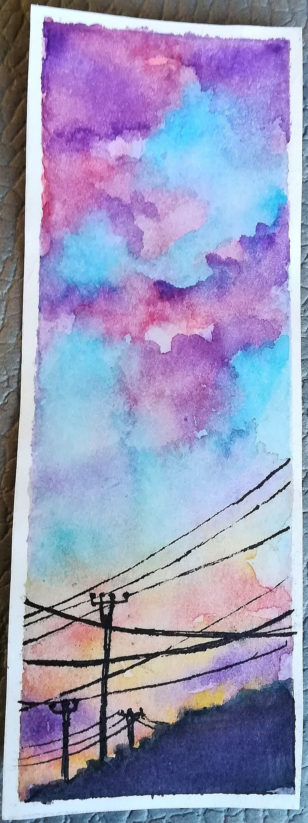 Watercolour Landscape Sunset Blue Purple Pink Purple Watercolor