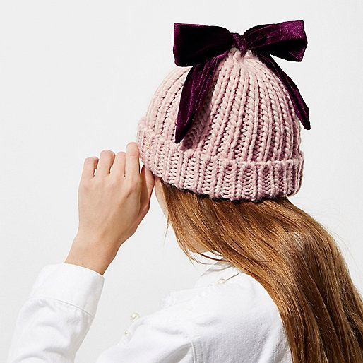 01fff88b843 Light pink velvet bow top knit beanie hat - Hats - Accessories - women