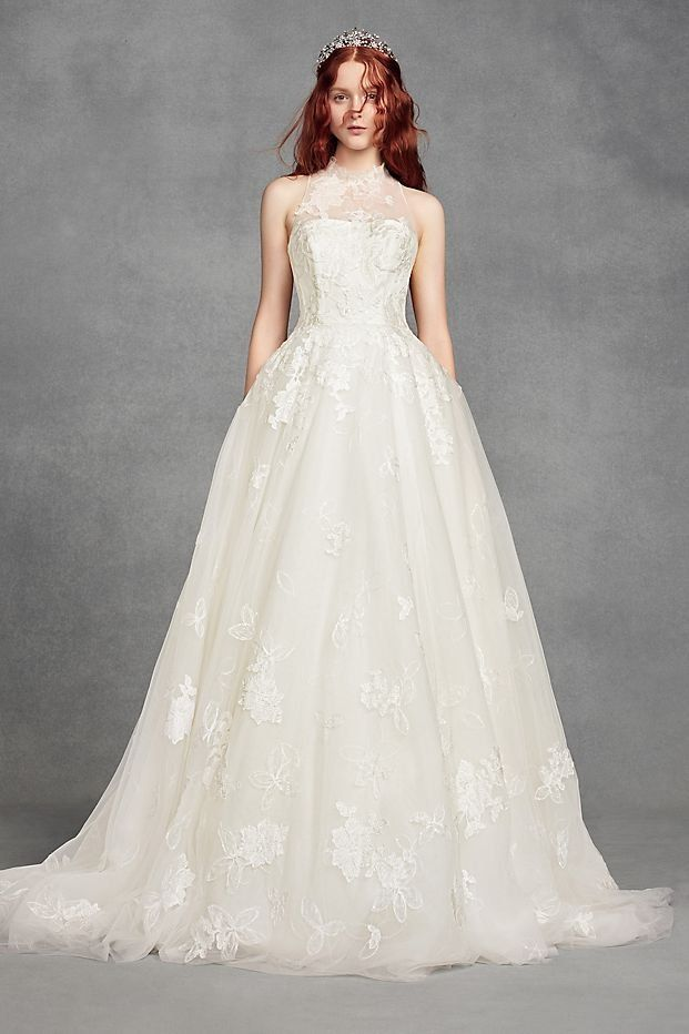 White by Vera Wang Illusion Floral High-Neck Ball Gown Wedding Dress ...