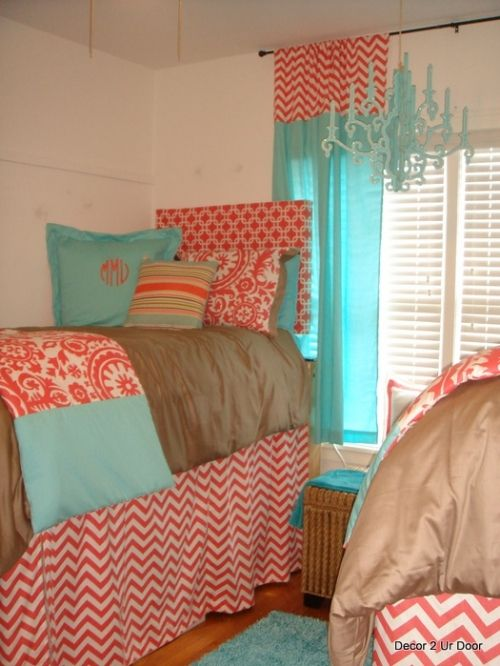 stunning coral beach bedroom | Tiffany Blue and Coral Beautiful Bedding | Sorority and ...