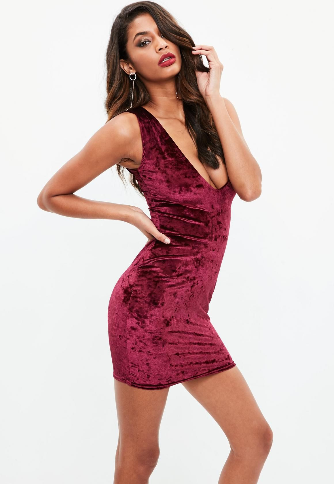 499cff0b70 Missguided - Red Velvet Plunge Mini Dress