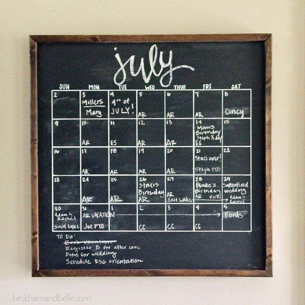 DIY Framed Wooden Chalkboard Calendar | Moore: Organization ...