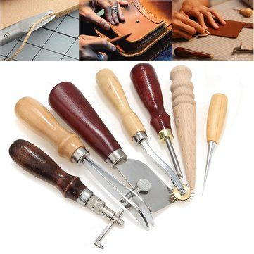 7pcs//set Leather Craft Punch Tools Kit Stitching Carving Working Sewing