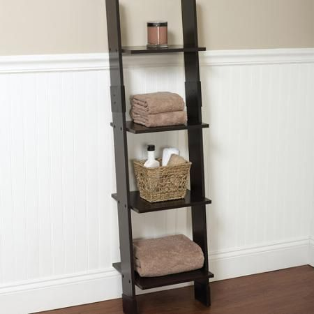 White Bathroom Linen Tower hawthorne bathroom wood ladder linen tower, espresso | for the