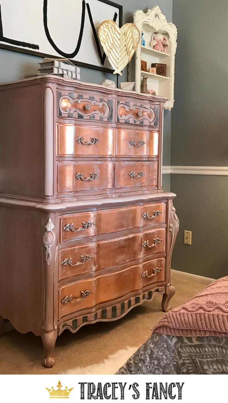 Rose Gold And Gray Girls Bedroom Makeover Tracey S Fancy Gold Painted Furniture Gold Dresser Diy Rose Gold Furniture