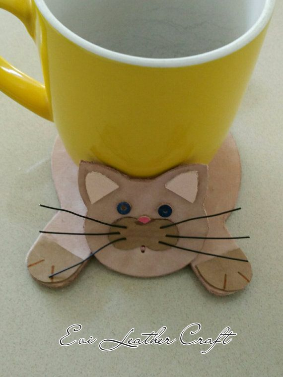 Cat Mug Coaster Leather Cat Kitchen Decor Cat By EviLeatherCraft