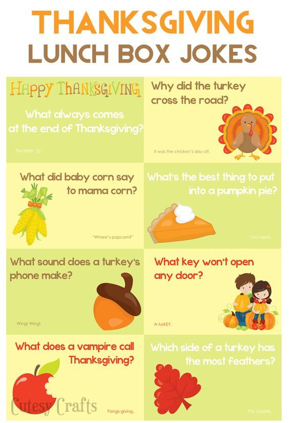 School Lunch Ideas - Thanksgiving Jokes - Cutesy Crafts