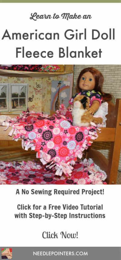 Make a quick and easy blanket for your American Girl doll with this free video tutorial.  This is a no sewing required project! #americangirldollcrafts