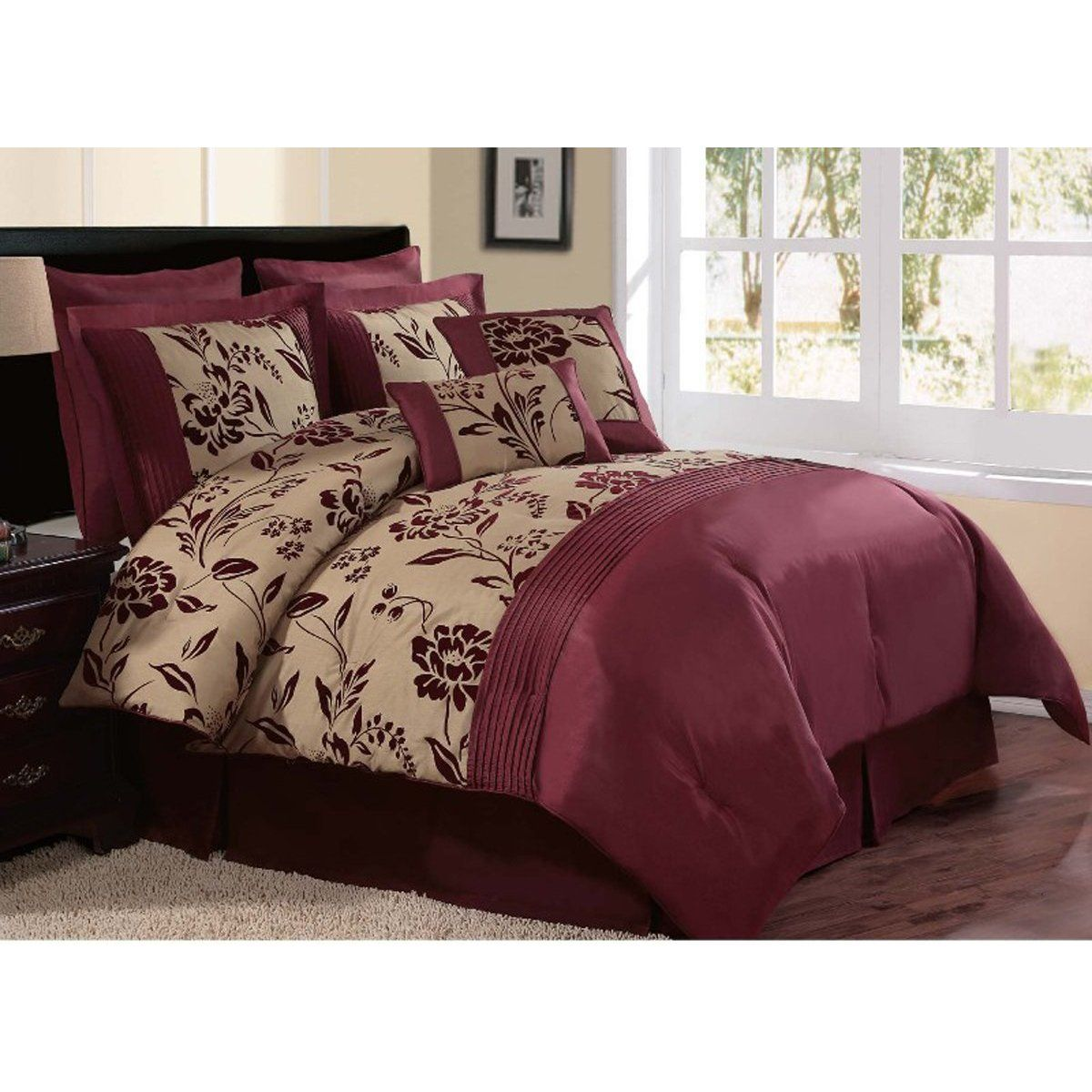 Bedding sets for women - Burgundy Comforter Sets